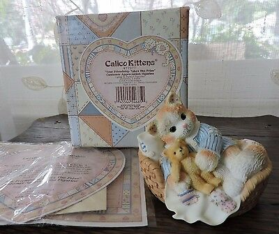 Calico Kittens Your Friendship Takes The Prize Cat Figurine 477877 NEW
