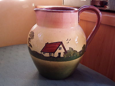 Vintage House Patterned Torquay Ware Jug + Legend - Mottoware