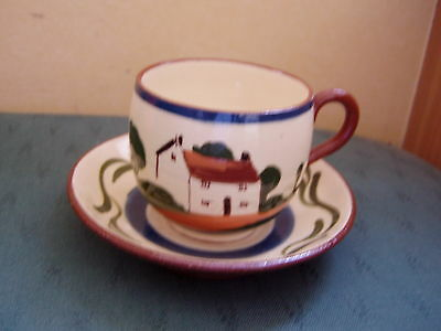 Vintage Patterned Torquay Ware Cup & Saucer - Watcombe Devon Ware