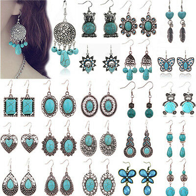 Boho Tibetan Silver Turquoise Dangle Drop Hook Earrings Women Vintage Jewelry