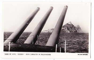 Early Post Card, Ships, Guns Of  H M S Rodney, With Gibralter In Background, RP