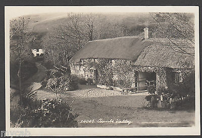 Postcard Coombe Valley near Bude Cornwall thatched cottages RP Hawke of Helston