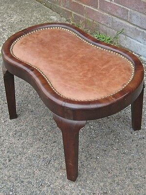 GeorgeIII antique solid Cuban mahogany brass stud brown leather shaped footstool