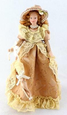 Dolls House Victorian Lady with Ringlets Miniature 1:12 Scale People Porcelain