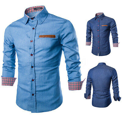 AU STOCK Men's Casual Shirts Long Sleeve T-Shirts Jean Slim Fit Dress Shirt Tops