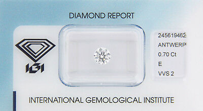 Diamond 0,70ct E VVS 2 Round IGI Certificate  - Laserscribe and Sealed -