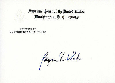 Byron R. White - Supreme Court Card Signed