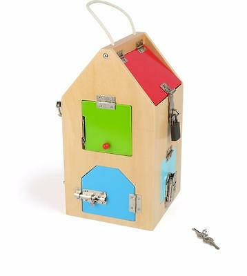 Wooden House of Locks Childrens Educational Lock Toy