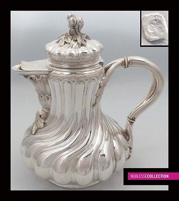 LUXURIOUS ANTIQUE 1860s FRENCH ALL STERLING SILVER COFFEE POT Napoleon III Style