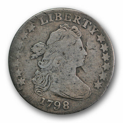 1798 10C Large 8 Draped Bust Dime Very Good to Fine Early Type Repaired R1601