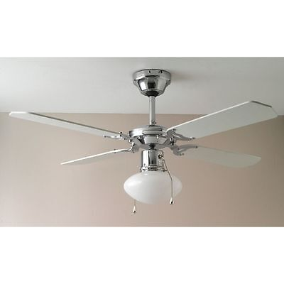 Home Ceiling Fan - White and Chrome - Free 90 Day Guarantee