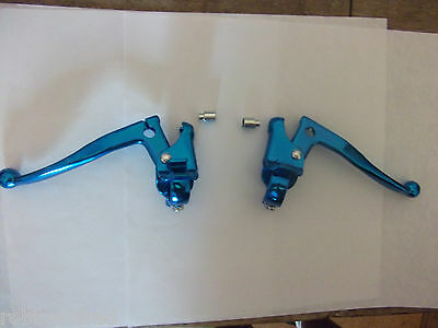 Pair OLD SCHOOL RETRO BMX Blue Alloy Cranked BRAKE LEVERS with Ferrules, seconds