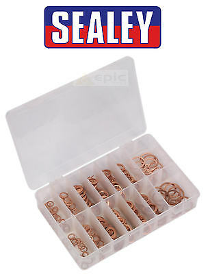 Sealey 250 Pce Assorted Copper Washer Seal Set Diesel Engine Drain Sump AB027CW