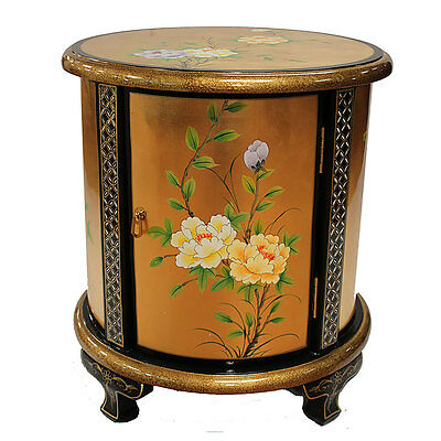 Painted Flower Design on Gold Leaf Lacquered Cabinet Oriental Furniture Chinese