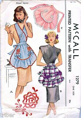 Vintage Sewing PATTERN Misses Full & Half Aprons McCall McCalls