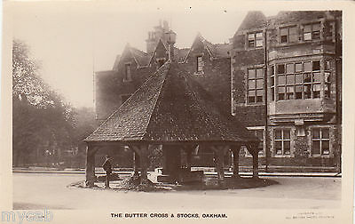 Postcard Oakham Rutland the Butter Cross and Stocks RP by W E Exton of Oakham