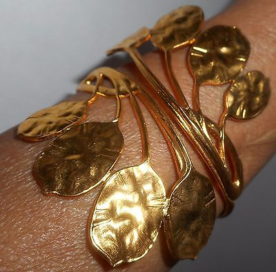 Vintage Cuff Bracelet Gold Metal Leaves Adjustable