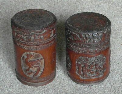 TWO 19th Century Chinese Antique Tea Cannisters - Carved Bamboo