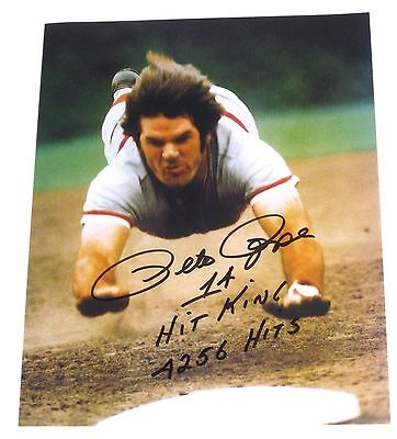 Pete Rose Hand Signed 8X10 Head First Photo With Proof