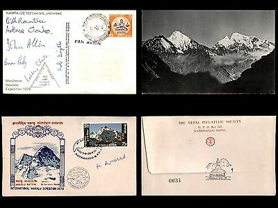 Nepal 1970-1978 Group of 2 Mountain Expedition Covers & 1 Card