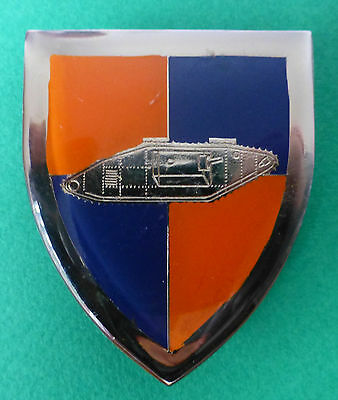 SOUTH AFRICA ARMY SCHOOL OF ARMOUR ARMOURED CORPS WW1 TANK metal ARM BADGE right
