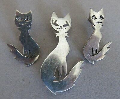 Sterling Silver Mexican Taxco Cat Brooch and Earrings TN-82 25.2g (1398)