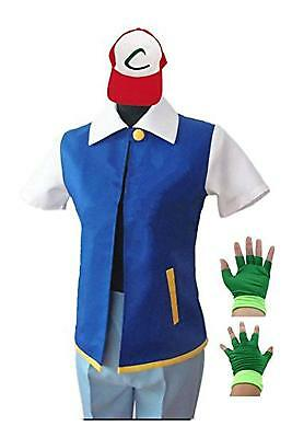 Pokemon Ash Ketchum Trainer Costume Cosplay Shirt Jacket + Gloves + Hat