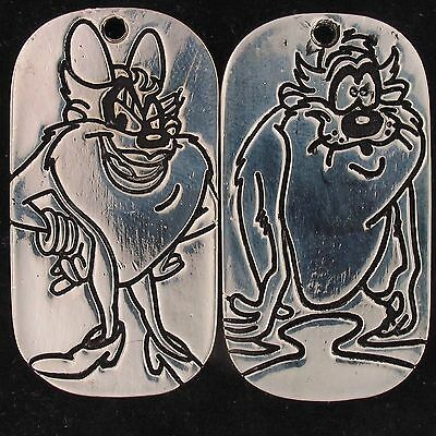 Charm Taz She Devil Warner Bros Wb Looney Tunes Silver Double Sided Dog Tag 5410