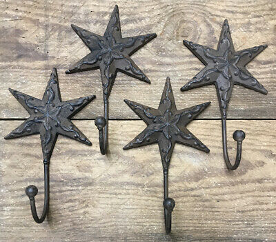 2 Star Hooks Coat Hat Wall Rustic cast iron Vintage Antique style Decor 8x4-1/2