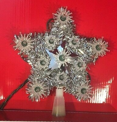 6 inch Silver Tinsel Clear White Light Star Lighted Light-up Tree Topper Top