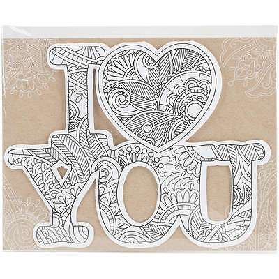 Diecut Coloring Cards -I Love You 767636116061