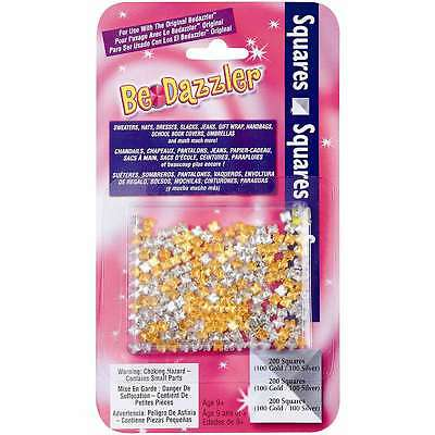 Be Dazzler Stud Refill 200/Pkg-Squares Gold & Silver 040282250205