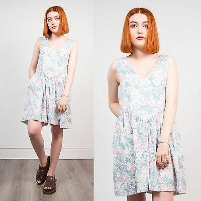 Womens Vintage 80's Floral Playsuit Romper V-Neck Casual Retro Cute Ditsy 12 14