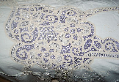 "(dix) Antique FINE cotton Tablecloth 60x92"" Hand embroidered, LACE Drawnwork"