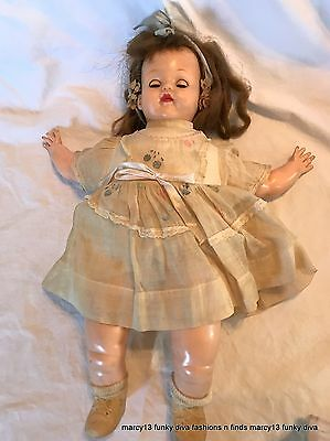 "Vintage 14"" Ideal Baby Ruth Doll Soft Vinyl Body Rubber Arms, Legs, Head"