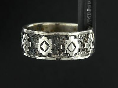 Peter Stone Solid Sterling Silver Tribal Overlay Band Ring Sz-5.5 925 PSCL RS614