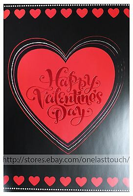 """PS GREETINGS* 24"""" x 16"""" GIANT SIZE CARD Happy Valentines Day BLACK+RED HEARTS"""