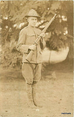 c1916 Canadian Soldier WW1 Smith RPPC Real photo postcard 11573