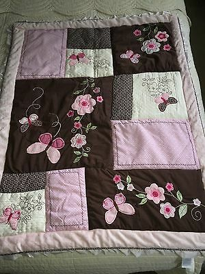 Carter's Butterfly Flowers Pink Brown Crib Bedding Baby Girl Comforter Beautiful