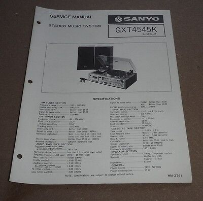 Sanyo Stereo Music System Service Manual GXT4545K ( turntable record player )
