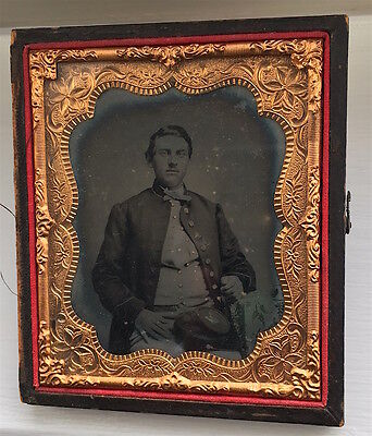 Civil War Union Soldier III 3rd Corps Badge on Kepi 1860s Ruby Ambrotype Photo