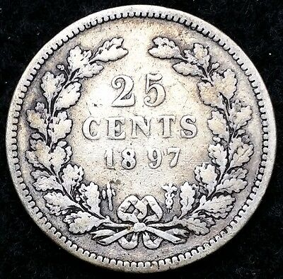 NETHERLANDS: 1897 25 Cents .640 Silver Quarter, KM# 115 - Free Combined S/H
