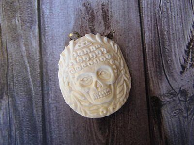 Pendant Necklace Skull Head Goddes From Buffalo Bone Carved w/ Silver 925_x386