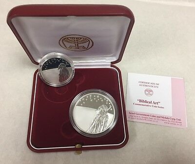 """Israel """"Biblical Art"""" Series Two Coin Set Sterling Silver"""