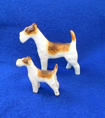 Vintage 2 Small Bone China Porcelain Wire Fox Terrier Figurines c1960 Dog