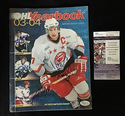 Jeff Carter Corey Perry Mike Richards A Stewart Signed OHL Yearbook JSA COA
