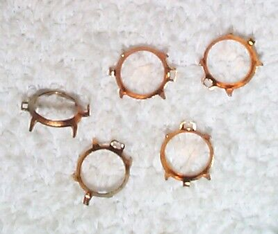 Vintage Unusual Brass Connector Settings With Ring 18 Pieces-Mount