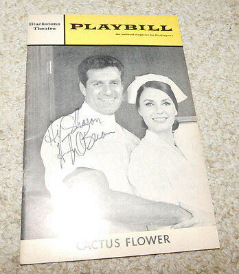 Vintage Oct 1967 Blackstone Theater Playbill Cactus Flower Hugh Obrian Signed