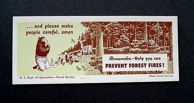 MINT ORIGINAL 1940's SMOKEY THE BEAR PRAYER INK BLOTTER MINI ADVERTISING SIGN