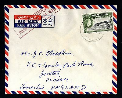 14879-GILBERT & ELLICE-AIRMAIL COVER CHRISTIANS to OLDHAM (england))1959.British